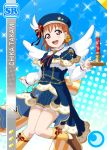 blush candle cap character_name christmas dress love_live!_school_idol_festival love_live!_sunshine!! orange_hair red_eyes short_hair smile takami_chika wings