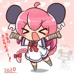 >_< 1girl 2020 :3 ahoge asimo953 bandaged_arm bandaged_leg bandages bangs bar_censor bike_shorts blush_stickers bodysuit bow bowtie braid censored chibi chinese_zodiac commentary_request disney dress eyebrows_visible_through_hair full_body gradient gradient_background hair_bow headgear heart heart_background identity_censor kantai_collection long_hair mickey_mouse nenohi_(kantai_collection) open_mouth outstretched_arms pink_background pink_hair polka_dot polka_dot_background red_bow sailor_collar sailor_dress short_sleeves sidelocks single_braid translation_request x3 year_of_the_rat