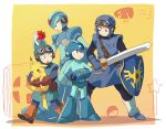 character_request closed_mouth commentary_request crossover dragon_quest dragon_quest_ii helmet multiple_boys pikachu pokemon pokemon_(game) prince_of_lorasia rockman rockman_(character) rockman_(classic) rockman_x shield short_hair sword weapon x_(rockman) yuza