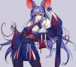 1girl adapted_costume animal_ears armpit_peek azur_lane bangs black_legwear black_ribbon blue_gloves blue_hair blue_kimono braid breasts closed_mouth clothes_writing collarbone commentary_request essex_(azur_lane) eyebrows_visible_through_hair fake_animal_ears floating_hair french_braid gloves grey_background hachizowo hair_ribbon highres japanese_clothes kimono large_breasts long_hair long_sleeves looking_at_viewer mouse_ears mouse_tail necktie obi pantyhose red_eyes red_neckwear ribbon sash side_braid sidelocks simple_background smile solo swept_bangs tail twintails very_long_hair wide_sleeves