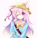 1girl ;o animal_ear_fluff animal_ears azur_lane bangs blue_shirt blush bow cat_ears collarbone ears_through_headwear eyebrows_visible_through_hair flying_sweatdrops hair_between_eyes hair_ribbon hand_up hat kindergarten_uniform kisaragi_(azur_lane) long_hair long_sleeves one_eye_closed one_side_up parted_lips pink_background pink_hair red_ribbon ribbon sailor_collar school_hat shikito shirt simple_background sleeves_past_wrists solo upper_body very_long_hair violet_eyes white_sailor_collar yellow_bow