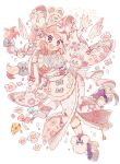 1girl 2020 :< :d animal animal_on_head ankle_bow ankle_strap blush bow braid cheese chinese_zodiac clenched_hand commentary_request floral_print flower food fork full_body hair_bow happy_new_year highres japanese_clothes kimono knees_together_feet_apart looking_at_viewer maid_headdress mouse mouse_girl mouse_on_head multicolored_hair nengajou new_year on_head open_mouth original outstretched_arm pastel_colors pink_hair platform_footwear sash simple_background smile solo two-tone_hair violet_eyes wakanagi_eku white_background white_hair wide_sleeves year_of_the_rat