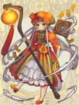 bow dairoku_youhei dress full_body grey_eyes grey_hair hat hat_bow holding holding_staff lantern long_hair long_sleeves looking_at_viewer mugu1 official_art paper_lantern puffy_long_sleeves puffy_sleeves red_bow red_dress red_footwear red_headwear simple_background solo staff standing tagme talisman very_long_hair wide_sleeves