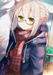 1girl absurdres arm_hug artoria_pendragon_(all) black-framed_eyewear blonde_hair blue_coat braid braided_bun coat drawstring duffel_coat eki_doki fate/grand_order fate_(series) frown glasses green_eyes highres long_sleeves looking_at_viewer mysterious_heroine_x_(alter) open_clothes open_coat outdoors plaid purple_shirt scarf semi-rimless_eyewear shirt solo_focus tied_hair twitter_username under-rim_eyewear upper_body