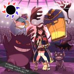 1girl animal_ears arao black_hair cofagrigus earrings erune gengar granblue_fantasy highres jewelry mimikyu nier_(granblue_fantasy) pokemon pokemon_(creature) polteageist red_eyes ribbon robe sableye sandals skirt stadium