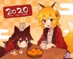 2020 2girls animal_ear_fluff animal_ears blonde_hair fox_ears fox_girl fox_tail hair_ornament happy_new_year japanese_clothes kouenji_(sewayaki_kitsune_no_senko-san) multiple_girls new_year rat rimukoro senko_(sewayaki_kitsune_no_senko-san) sewayaki_kitsune_no_senko-san signature tail
