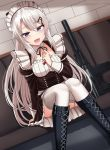 1girl 9a-91 9a-91_(girls_frontline) :d apron assault_rifle bangs black_footwear blue_eyes blush boots breasts convenient_leg cross-laced_footwear detached_collar dutch_angle garter_straps girls_frontline gun hair_ornament hand_up highres juliet_sleeves knee_boots knees_together_feet_apart lace-up_boots long_hair long_sleeves looking_at_viewer maid maid_headdress medium_breasts object_namesake open_mouth puffy_sleeves rabochicken rifle silver_hair sitting smile solo thigh-highs very_long_hair weapon white_legwear wing_collar