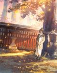 1girl ahoge autumn autumn_leaves bag black_footwear blue_eyes blush brown_coat brown_hair building closed_mouth coat dress falling_leaves fence full_body highres leaf long_sleeves looking_at_viewer open_clothes open_coat original own_hands_together rope sho_(shoichi-kokubun) shoes shoulder_bag smile sneakers solo standing stone_lantern tree white_dress