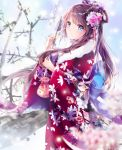 1girl arrow bangs blue_eyes blush bow brown_hair closed_mouth commentary_request eyebrows_visible_through_hair floral_print flower hair_bow hair_flower hair_ornament hamaya highres holding holding_arrow japanese_clothes kimono long_hair long_sleeves looking_away mutang nengajou new_year original pink_flower print_bow print_kimono red_kimono solo very_long_hair wide_sleeves