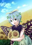 1girl antennae bare_arms blue_hair blue_sky butterfly_wings clouds commentary_request crossed_arms day dress dutch_angle eternity_larva eyebrows_visible_through_hair field flower flower_field green_eyes hair_between_eyes haruka_(hrccanata) highres horizon layered_dress leaf leaf_on_head object_hug open_mouth outdoors short_hair sky sleeveless sleeveless_dress solo standing sunflower touhou upper_body wings
