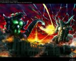 bagan battle blue_eyes character_request city claws clouds cloudy_sky copyright_request destruction electricity energy energy_ball fangs garayann godzilla godzilla_(series) highres horns kaijuu monster no_humans open_mouth red_eyes sharp_teeth sky super_godzilla super_godzilla_(character) tail teeth