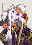 1girl abigail_williams_(fate/grand_order) bangs black_bow bow commentary_request double_bun fate/grand_order fate_(series) flower gajumaru09 hair_bow hair_flower hair_ornament japanese_clothes keyhole kimono long_hair looking_at_viewer mickey_mouse_ears mouse orange_bow orange_flower parted_bangs polka_dot polka_dot_bow purple_kimono sharp_teeth solo teeth violet_eyes white_hair white_skin