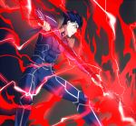 1boy blue_hair bodysuit cu_chulainn_(fate)_(all) earrings electricity fate/stay_night fate_(series) fighting_stance gae_bolg highres jewelry lancer male_focus pauldrons polearm ponytail solo spear weapon ycco_(estrella)