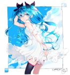 1girl absurdres black_bow black_legwear blue_eyes blue_hair blue_neckwear blue_sky bow cha_sakura clouds commentary cowboy_shot day dress framed_image frilled_dress frills from_side hair_bow hand_in_hair hand_up hatsune_miku highres leaning_forward long_hair looking_at_viewer looking_to_the_side necktie outdoors signature single_thighhigh sky smile thigh-highs twintails vocaloid white_dress