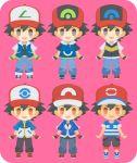 6+boys baseball_cap black_hair black_pants blue_pants brown_eyes denim full_body grey_eyes hat jeans multiple_boys multiple_persona pants pokemon pokemon_(anime) pokemon_(classic_anime) pokemon_bw_(anime) pokemon_dppt_(anime) pokemon_rse_(anime) pokemon_sm_(anime) pokemon_xy_(anime) purple_background rizu_(rizunm) satoshi_(pokemon) simple_background standing wristband