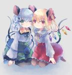 2girls :o adapted_costume alternate_color alternate_hair_length alternate_hairstyle animal_ears black_legwear blonde_hair blue_shirt brown_legwear commentary_request eyebrows_visible_through_hair flandre_scarlet frilled_shirt_collar frilled_sleeves frills green_eyes green_skirt grey_background hair_between_eyes hair_ribbon hand_on_floor head_to_head hiyuu_(hiyualice) kemonomimi_mode kneeling komeiji_koishi long_sleeves medium_hair mouse_ears mouse_tail multiple_girls no_hat no_headwear no_shoes one_eye_closed pantyhose petticoat red_eyes red_skirt ribbon shirt side_ponytail silver_hair simple_background skirt smile tail third_eye touhou wings