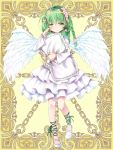 1girl ahoge angel angel_wings anzu_mochiko braid dress feathers flower full_body green_eyes green_hair hair_flower hair_ornament hand_up holding holding_pillow kerberos_blade long_hair long_sleeves looking_at_viewer pillow simple_background slippers solo white_dress white_wings wings yellow_background