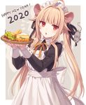 1girl 2020 ahoge animal_ears apron bangs black_ribbon blonde_hair blunt_bangs border cheese eyebrows_visible_through_hair food fruit grapes happy_new_year hijiri_(resetter) looking_at_viewer maid maid_apron maid_headdress mouse mouse_ears new_year original outside_border red_eyes ribbon simple_background solo twintails white_apron white_border