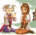 1girl adina_(radiata_stories blonde_hair blush_stickers bodysuit breasts brown_eyes brown_hair cloak elena_(radiata_stories feet fighting_stance fingerless_gloves gloves latex long_hair low-tied_long_hair miranda_(radiata_stories) open_mouth orange_bodysuit petite ponytail purple_bodysuit radiata_stories shiny shiny_clothes siblings sisters small_breasts solo trail twins wet white_background white_hair
