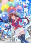 1girl animal_ears artist_name balloon bear_ears black_legwear blazer blurry blurry_background blush bow bowtie breasts brown_eyes brown_hair castle clouds cloudy_sky collared_shirt dutch_angle eyebrows_visible_through_hair fang floating_hair hair_between_eyes hair_ornament hairclip hano_haruka highres holding_balloon jacket knees_together_feet_apart light_particles long_hair long_sleeves looking_at_viewer medium_breasts open_mouth original pink_neckwear plaid plaid_skirt red_jacket shirt skin_fang skirt sky solo thigh-highs twintails v very_long_hair white_shirt white_skirt zettai_ryouiki