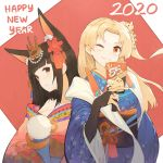 2020 2girls animal_ear_fluff animal_ears azur_lane bangs bare_shoulders black_hair blonde_hair blunt_bangs breasts bridal_gauntlets brown_eyes cleveland_(azur_lane) flower fox_ears hair_flower hair_ornament happy_new_year headdress japanese_clothes kimono long_hair looking_at_viewer medium_breasts multiple_girls nagato_(azur_lane) natsumoka new_year obi one_eye_closed red_eyes sash smile two-tone_background