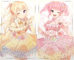 2girls ;) ;d bang_dream! bangs blonde_hair center_frills clenched_hand clenched_hands detached_collar dress floral_background flower frilled_dress frills hair_ribbon half-closed_eyes hand_up hands_up highres long_hair looking_at_viewer maruyama_aya multiple_girls neck_ribbon one_eye_closed open_mouth pink_dress pink_eyes pink_flower pink_hair pink_neckwear pom_pom_earrings red_flower red_ribbon ribbon ribbon-trimmed_dress shirasagi_chisato sidelocks smile striped striped_ribbon twintails violet_eyes white_flower wrist_cuffs yellow_dress yellow_flower yellow_neckwear yuhi_(hssh_6)