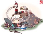 1girl ahoge bottle braid cable cola commentary_request cup electric_plug electric_socket fast_food food game_console hair_ornament hamburger handheld_game_console highres holding_handheld_game_console ikea_shark kanon_(kurogane_knights) kizuna_akari kotatsu long_hair lying mug nintendo_switch on_back playing_games plug prehensile_hair shark silver_hair soda_bottle solo stuffed_animal stuffed_shark stuffed_toy table tissue tissue_box toothbrush toothpaste twin_braids under_kotatsu under_table voiceroid