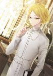 1boy alternate_color arm_up bangs bible blonde_hair book buttons cassock closed_mouth collar cross cross_necklace day feathers haikyuu!! hemoon holding holding_book holding_cross indoors jewelry kozume_kenma long_sleeves looking_at_viewer male_focus necklace parted_bangs pendant priest sash short_hair solo standing turtleneck white_feathers white_sash window yellow_eyes