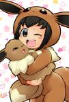 1girl ;d artist_name black_hair blush brown_eyes child commentary_request cosplay eevee eevee_(cosplay) gen_1_pokemon heart heart_background holding holding_pokemon hood lee_(colt) long_sleeves looking_at_viewer one_eye_closed open_mouth poke_kid_(pokemon) pokemon pokemon_(creature) pokemon_(game) pokemon_swsh round_teeth simple_background smile teeth