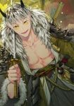 1boy abs alternate_hairstyle armor bangs black_hair bokuto_koutarou collar collarbone eyebrows_visible_through_hair fur fur_collar fur_trim grey_hair haikyuu!! hair_down hemoon holding holding_sword holding_weapon horns katana long_sleeves looking_at_viewer male_focus midriff multicolored_hair muscle open_clothes open_mouth pauldrons short_hair slit_pupils smile solo standing sword tassel teeth traditional_clothes two-tone_hair weapon wide_sleeves yellow_eyes