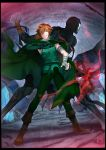 2boys back-to-back bandaged_arm bandages black_skin bow_(weapon) cape cave claws crossbow fate/extra fate/stay_night fate_(series) glowing glowing_hand green_cape green_eyes hair_over_one_eye highres mask multiple_boys orange_hair robin_hood_(fate) skull_mask spiky_hair true_assassin weapon ycco_(estrella) zabaniya_(fate)
