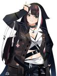 1girl azur_lane bag black_hair blue_eyes boots camouflage camouflage_pants casual choker deutschland_(azur_lane) fang german_flag iron_cross jacket long_hair mania_(fd6060_60) medal midriff military_jacket multicolored_hair navel pants redhead solo streaked_hair white_hair