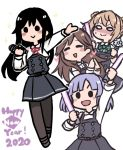 2020 4girls :> :d arashio_(kantai_collection) asashio_(kantai_collection) black_hair blush brown_hair closed_eyes dress glowstick grey_hair happy_new_year kantai_collection light_brown_hair long_hair long_sleeves michishio_(kantai_collection) multiple_girls new_year nose_blush o_o ooshio_(kantai_collection) open_mouth pantyhose pinafore_dress red_ribbon remodel_(kantai_collection) ribbon simple_background smile standing terrajin twintails white_background