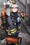 1girl arknights axe brown_eyes chinese_text closed_mouth emblem firefighter from_side helmet holding jacket long_sleeves looking_at_viewer nice_(kingzone) oxygen_mask oxygen_tank shaw_(arknights) short_hair solo standing tail