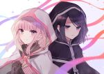 2girls bangs black_cloak black_gloves black_hair black_shirt boyano braid character_request cloak closed_mouth coo eyebrows_visible_through_hair gloves hands_clasped hands_up hood hood_up hooded_cloak magia_record:_mahou_shoujo_madoka_magica_gaiden mahou_shoujo_madoka_magica multiple_girls own_hands_together pink_hair shirt smile swept_bangs tamaki_iroha upper_body violet_eyes white_cloak