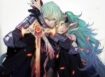 1boy 1girl armor black_gloves byleth_(fire_emblem) byleth_(fire_emblem)_(male) closed_mouth fire_emblem fire_emblem:_three_houses gloves green_eyes green_hair hair_ornament holding holding_sword holding_weapon long_hair parted_lips pointy_ears short_hair simple_background sothis_(fire_emblem) sword tiara tokikayu upper_body weapon