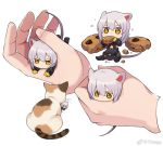 1girl animal_ears arknights cat cookie dress eating food gloves hands minigirl mouse_ears mouse_tail multiple_views scavenger_(arknights) short_hair silver_hair simple_background sitting tail tdtama weibo_username white_background yellow_eyes