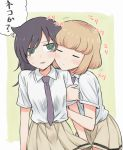 2girls =_= arm_hug bags_under_eyes black_hair blonde_hair blush cheek-to-cheek cheek_squash collared_shirt commentary_request green_eyes kuroki_tomoko meis_(terameisu) multiple_girls necktie pleated_skirt purple_neckwear rectangular_mouth school_uniform shirt short_sleeves single_stripe skirt sweatdrop thought_bubble translation_request uchi_emiri watashi_ga_motenai_no_wa_dou_kangaetemo_omaera_ga_warui! white_shirt yuri
