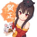 1girl 2020 animal bangs bare_shoulders black_hair blush cat collarbone commentary_request eyebrows_visible_through_hair flat_chest holding holding_animal kono_subarashii_sekai_ni_shukufuku_wo! long_sleeves looking_at_viewer megumin mouse pensuke red_eyes simple_background solo translation_request white_background