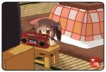 1girl brown_eyes brown_hair cassette_player chibi commentary_request kaga_(kantai_collection) kantai_collection kotatsu long_hair side_ponytail solo table taisa_(kari) tasuki tatami television translation_request