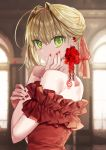 1girl ahoge bangs bare_shoulders blonde_hair blush breasts dress fate/extra fate_(series) gambe green_eyes highres large_breasts long_hair looking_at_viewer nero_claudius_(fate) nero_claudius_(fate)_(all) red_dress short_hair solo