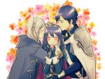 blue_hair blush cape chrom_(fire_emblem) closed_eyes family father_and_daughter fingerless_gloves fire_emblem fire_emblem_awakening gloves group_hug hand_on_another's_head happy highres hug lucina_(fire_emblem) mother_and_daughter nishimura_(nianiamu) robin_(fire_emblem) robin_(fire_emblem)_(female) shoulder_armor silver_hair smile tiara upper_body