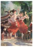 3girls :d absurdres architecture arms_up bamboo border broom brown_hair commentary_request day east_asian_architecture hakama highres holding holding_broom japanese_clothes jump_rope jumping lantern long_hair miko multiple_girls open_mouth original outdoors ponytail psi_(583278318) red_hakama rope sandals shimenawa shrine smile snow twintails white_border white_legwear wooden_lantern