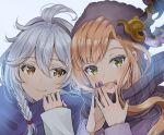 2girls :d bangs black_headwear blush braid brown_eyes brown_hair brown_scarf closed_mouth commentary_request ear_mittens eyebrows_visible_through_hair fingernails fur_hat granblue_fantasy green_eyes grey_background hair_between_eyes hands_up hat long_hair long_sleeves looking_at_viewer multiple_girls myusha nail_polish open_mouth purple_nails scarf silva_(granblue_fantasy) silver_hair smile song_(granblue_fantasy) steepled_fingers upper_body