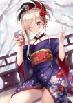 1girl ;3 bangs blonde_hair blue_eyes blush can canned_tea closed_mouth collarbone commentary_request dutch_angle eyebrows_visible_through_hair fate/grand_order fate_(series) floral_print flower hair_between_eyes hair_flower hair_ornament harimoji holding holding_can japanese_clothes kimono long_hair long_sleeves looking_at_viewer miyamoto_musashi_(fate/grand_order) obi off_shoulder one_eye_closed ponytail print_kimono purple_kimono red_flower red_rose rose sash sidelocks smile snow snowing solo tree_branch v wide_sleeves