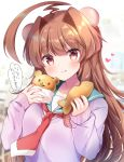 1girl ahoge animal_ears aqua_sailor_collar bear_ears blush brown_eyes brown_hair cardigan eyebrows_visible_through_hair fingernails food heart highres holding holding_food huge_ahoge kantai_collection kuma_(kantai_collection) long_hair long_sleeves masayo_(gin_no_ame) purple_cardigan red_neckwear sailor_collar smile solo speech_bubble tongue translation_request upper_body