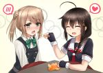 2girls ahoge bangs black_gloves black_hair black_serafuku blush bow bowtie braid closed_eyes double_bun dress eyebrows_visible_through_hair feeding fingerless_gloves food fruit gloves green_neckwear hair_bow hair_flaps hair_over_shoulder heart kantai_collection kotatsu light_brown_hair looking_away mandarin_orange michishio_(kantai_collection) multiple_girls neckerchief open_mouth pinafore_dress red_bow red_neckwear remodel_(kantai_collection) rokosu_(isibasi403) sailor_collar school_uniform serafuku shigure_(kantai_collection) short_hair short_twintails single_braid solo speech_bubble spoken_blush spoken_heart table twintails under_kotatsu under_table yellow_eyes
