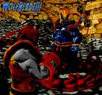 2boys armor artist_name barefoot battle beads blue_oni bodysuit boots bracelet crossover demon deviantart_username dougi fangs gloves glowing glowing_hair gold_armor gouki helmet jewelry kuruoshiki_oni male_focus multiple_boys muscle oni power_rangers power_rangers:_legacy_wars prayer_beads purple_skin red_skin ryu_ranger_(power_rangers) ryuu_(street_fighter) signature spiky_hair street_fighter street_fighter_iv_(series) tagme wolfblade111 xnalara xps