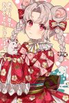1girl animal bangs bow bowtie braid chinese_zodiac closed_mouth commentary_request double_bun eyebrows_visible_through_hair floral_print grey_hair hair_bow japanese_clothes karokuchitose kimono light_smile long_hair long_sleeves looking_at_viewer mouse nengajou new_year obi original parted_bangs pink_bow polka_dot polka_dot_bow print_kimono red_bow red_eyes red_kimono red_neckwear sash sleeves_past_fingers sleeves_past_wrists solo striped striped_bow sunburst sunburst_background translation_request twin_braids twintails upper_body year_of_the_rat