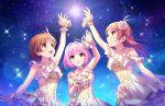 3girls blush dress honda_mio houjou_karen idolmaster_cinderella_girls_starlight_stage pink_eyes pink_hair short_hair yumemi_riamu